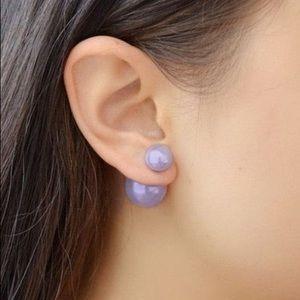 Purple Lavender Reversible Double Pearl Earrings